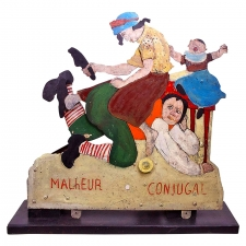 "19th Century French Mechanical Carnival Toy ""Marital Strife"""