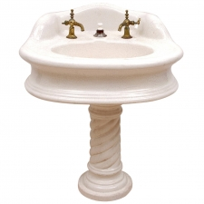 Victorian Pedestal Sink in Cast Iron & White Porcelain with Brass Spigots, c. 1880