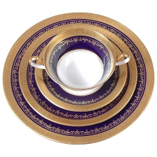Aynsley China, Georgian Cobalt Pattern with Encrusted Gold, Service for 16