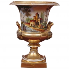 Large Old Paris Porcelain Urn with Romantic Landscape Scenes