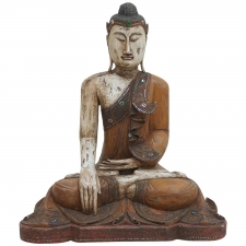Burmese Mandalay Buddha in Carved Polychromed Wood, Late 1800's to Early 1900's