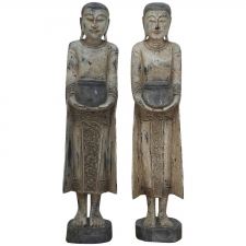 Pair of 3 Foot Burmease Buddhist Statues Carved in Polychromed Wood