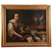18th c. Oil on Canvas of Fish Monger, Holland