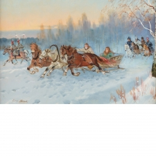 """Sledding,"" Oil on Canvas by Juliusz Stabiak"