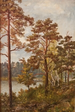 Lakeside Landscape, Oil on Canvas