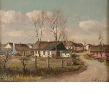 """Village"", Oil on Canvas, Signed Theodore Ulrichsen"