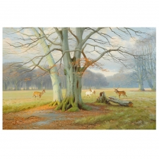 """Deer Park"", Oil on Canvas, Signed K. Drews, 1939"