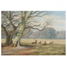 """Deer Park"", Oil on Canvas, Signed K. Drews, 1938"