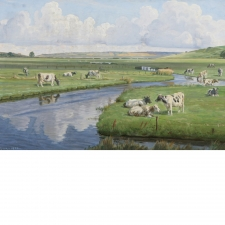 """Landscape with Cattle"", Oil on Canvas, Signed RX CHR, 1926"