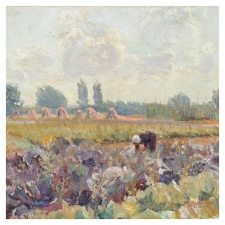"Antwerp Landscape ""Women Working in the Fields"" Oil on Canvas"