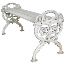 Small Swedish Rococo Style Garden Bench in Cast Iron, circa early 1900's
