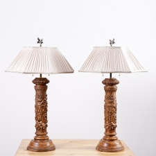 Pair of Table Lamps in Turned Wood with Plaster and Polychrome