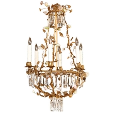 French Louis XV Style Foliate Chandelier with Porcelain Flowers & Crystals, c. 1880