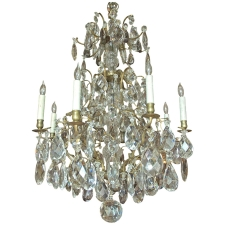 Large Rococo-Style Crystal Chandelier with Sixteen Lights, Sweden, circa 1890