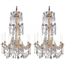 Pair of 19th Century Italian Giltwood and Cut-Glass Chandeliers