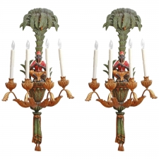 Pair of Carved Light Sconces with Blackamoors