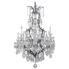 Large Ten-Light Chandelier with Glass Crystals and Wrought Iron Frame