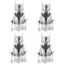 Set of Four Wrought Iron Candle Sconces with Cut-Glass/Crystal Obelisks