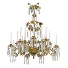 French Rococo Style Bronze Dore Chandelier with 16 Candles & 6 Lights, circa 1840