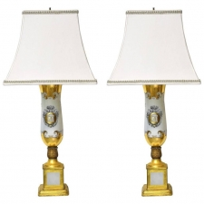 Pair of White Porcelain Lamps with Luster Ware Glaze & Gilding, France, circa 1925