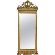 French Antique Mirror in carved and gilded wood