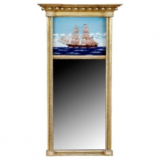 American Federal Gold Leaf Mirror with Reverse-Glass Painting of Schooner,  American, c. 1790