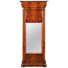 Antique Mirror in Bookmatched Mahogany with Turned Columns