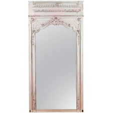 French Antique Trumeau Mirror in Carved and Painted Wood, c. 1880