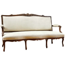 Louis XV Style Sofa in carved walnut, France, c. 1860