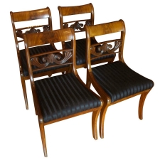 Set of Four Biedermeier Dining Chairs in Mahogany, c. 1825