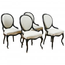 Set of 4 Napoleon III Ebonized Side Chairs, France, c.1860