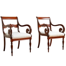 Pair of Armchairs in Mahogany, Northern Europe, circa 1835