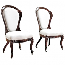 Pair of Upholstered Salon Chairs by John Henry Belter, c. 1844