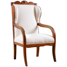 Biedermeier Wing-back Armchair in Birch, circa 1825