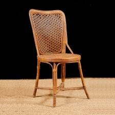 French Antique Napolean III Rattan Chair with Original Cane
