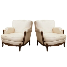 Pair of Bergeres with Carved Oak Frame & Upholstered Down Cushions, c. 1930