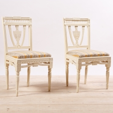 Pair of painted Gustavian style side chairs, c.1900