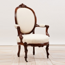 Antique French Belle Epoque Armchair in Mahogany, c.1870