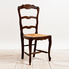 French Antique Ladderback Chair with Rush Seating