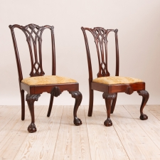 Pair of Philadelphia Chippendale Style Chairs in Mahogany, c. 1870