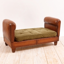 French Art Deco Period Leather Banquette, c. 1930