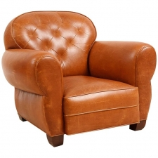 Leather Club Chair with Tufted Back