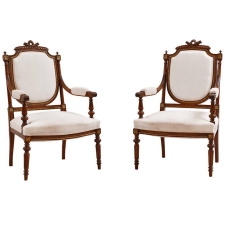 Pair of French Louis XVI Style Armchairs in Walnut, c. 1870
