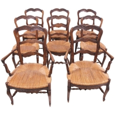 Set of Eight (8) French Provincial Louis XV Style Dining Chairs, c. 1830