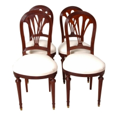 Set of Four (4) French Art Deco Dining Chairs, c. 1920