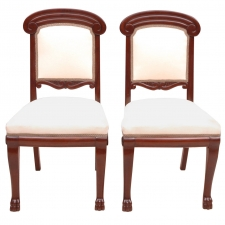 Pair of Baltic Empire-Style Chairs in Mahogany with Upholstery, c. 1910