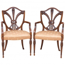 19th Century Pair of Shield-Back Armchairs with Carved Prince of Wales Feathers
