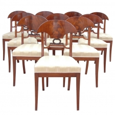 Set of 12 Empire Mahogany Dining Chairs, c.1820