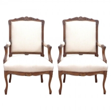 "Pair of 19th Century French Regency-Style Armchairs ""a la reine"""