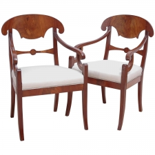 Pair of Karl Johan Mahogany Arm Chairs, circa 1830